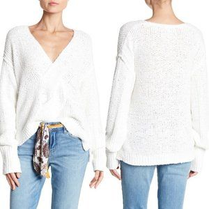 Free People Coco V-Neck Knit Sweater in White